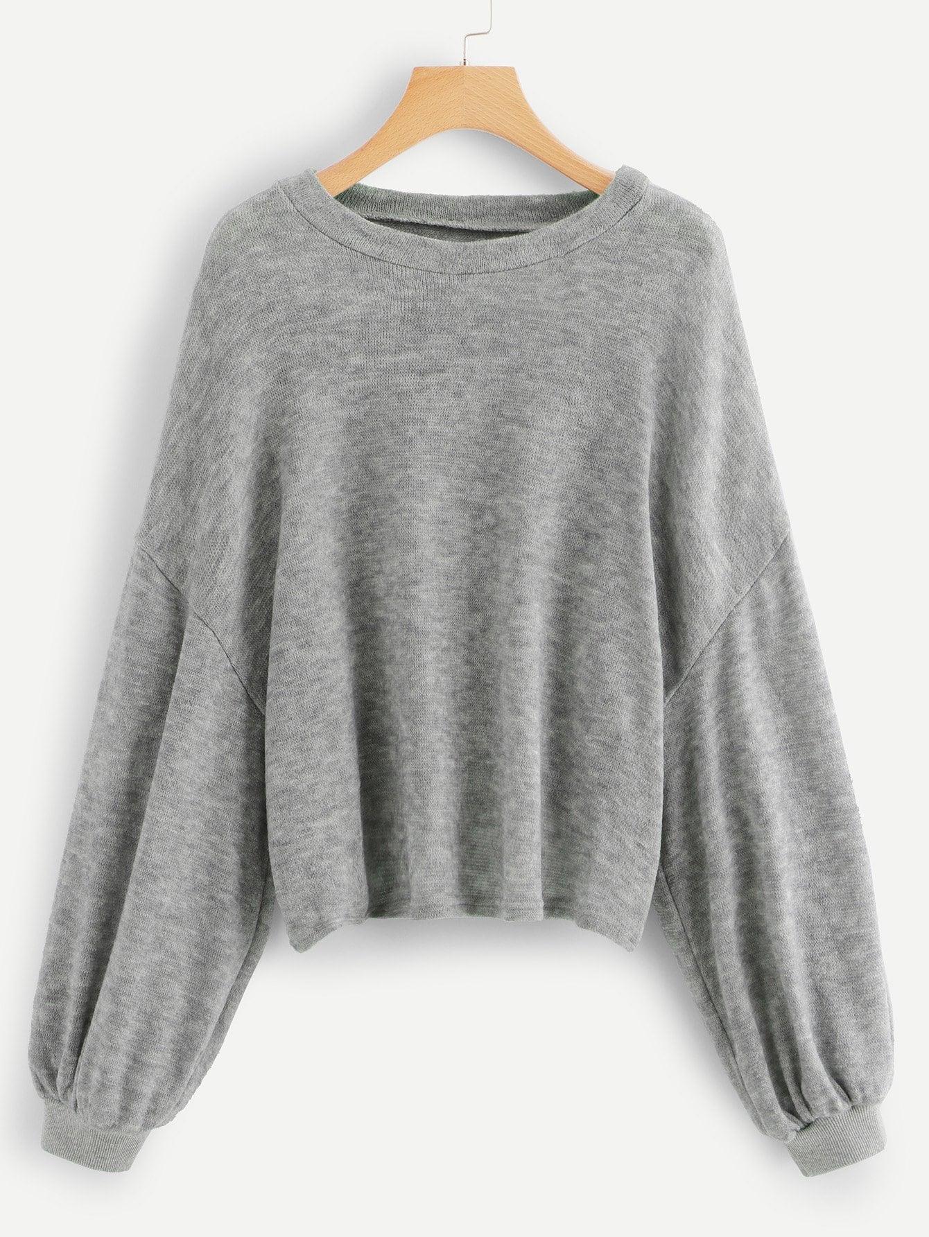 Plus Drop Shoulder Solid Sweater