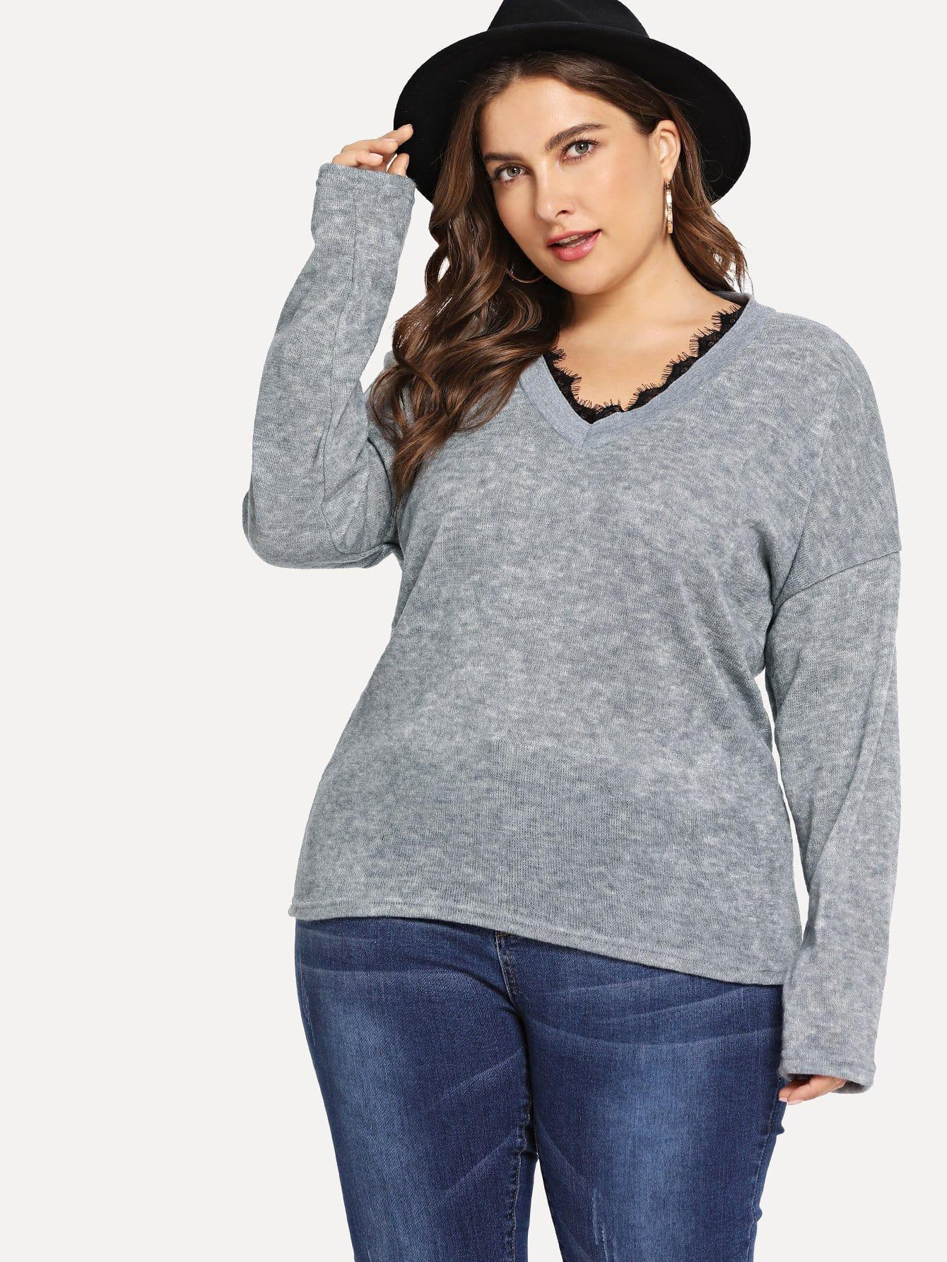 Купить Большая блуза с V-образным вырезом и со симметрическими кружевами, Franziska, SheIn