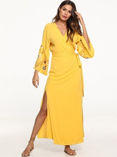 Embroidered Flounce Sleeve Surplice Wrap Slit Dress