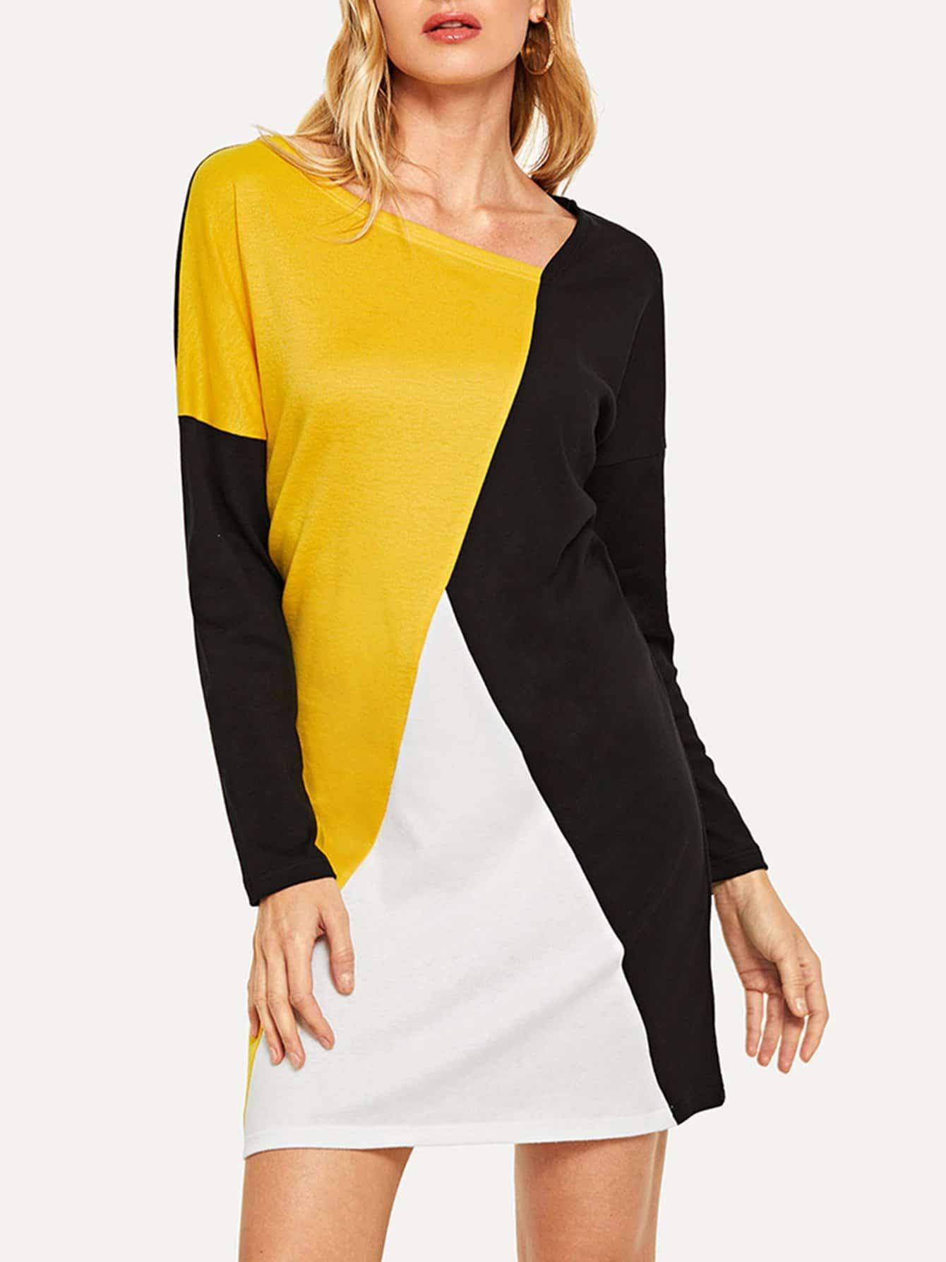 Купить Платье с контрастным асимметричным воротником, Masha, SheIn
