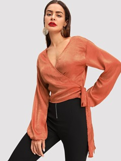 Blouson Sleeve Tie Side Wrap Top