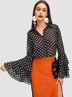 Tiered Bell Sleeve Polka Dot Semi-Sheer Blouse