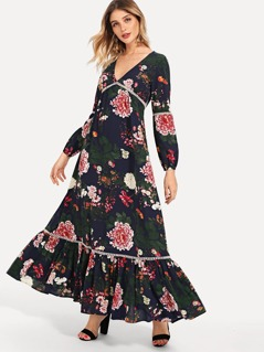 Crochet Pompom Insert Flounce Hem Floral Dress