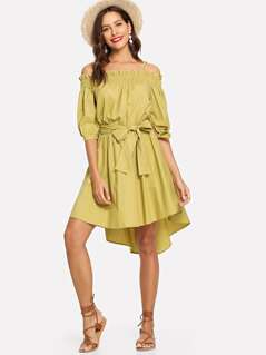 Open Shoulder Frilled Shirred Dress
