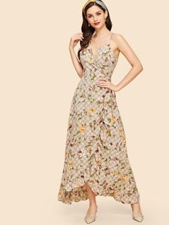 Plaid And Flower Print Cami Dress