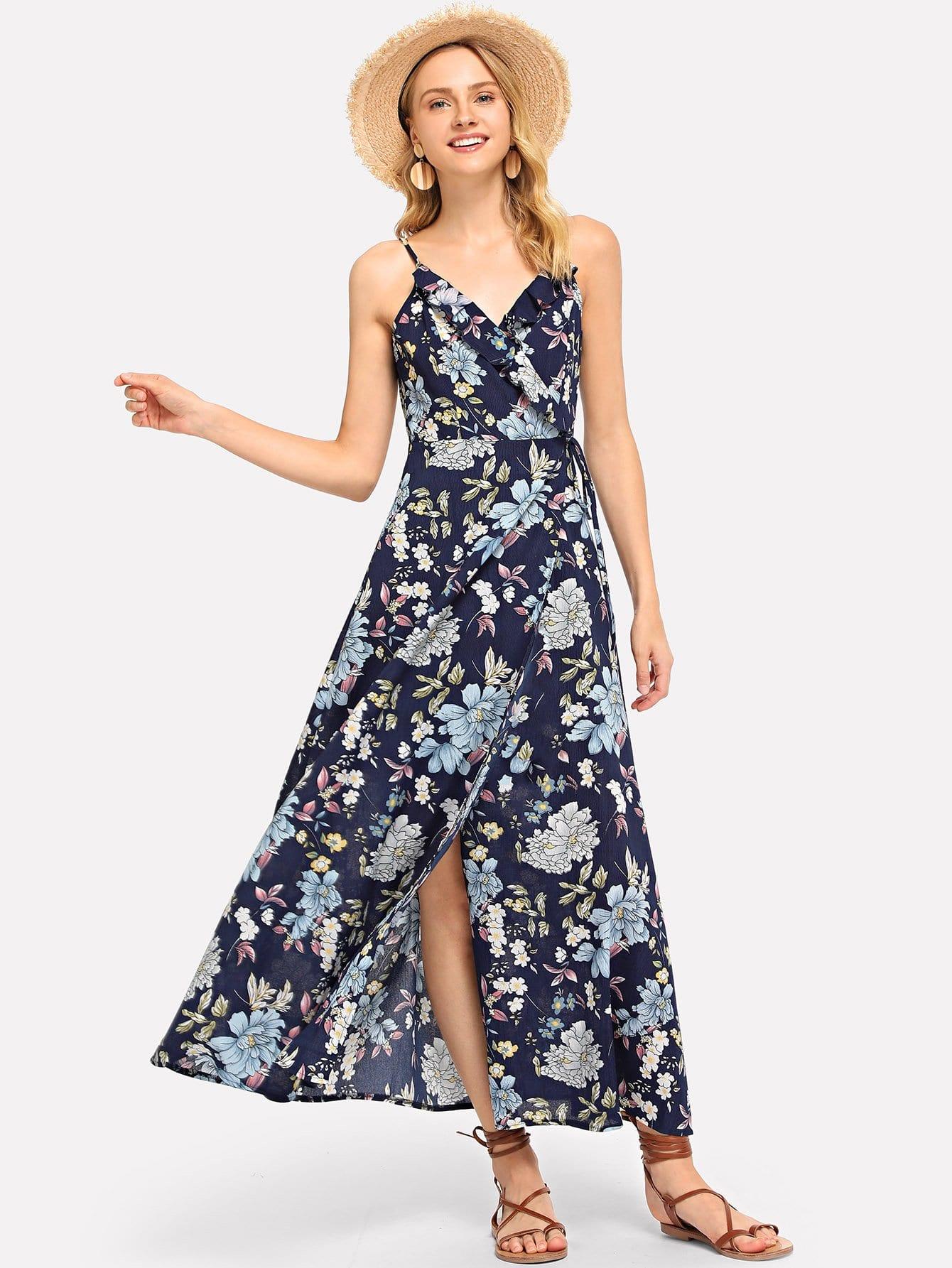 цена на Lace Up Back Floral Ruffle Dress