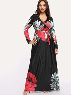 Plus Flower Print Wrap Maxi Dress