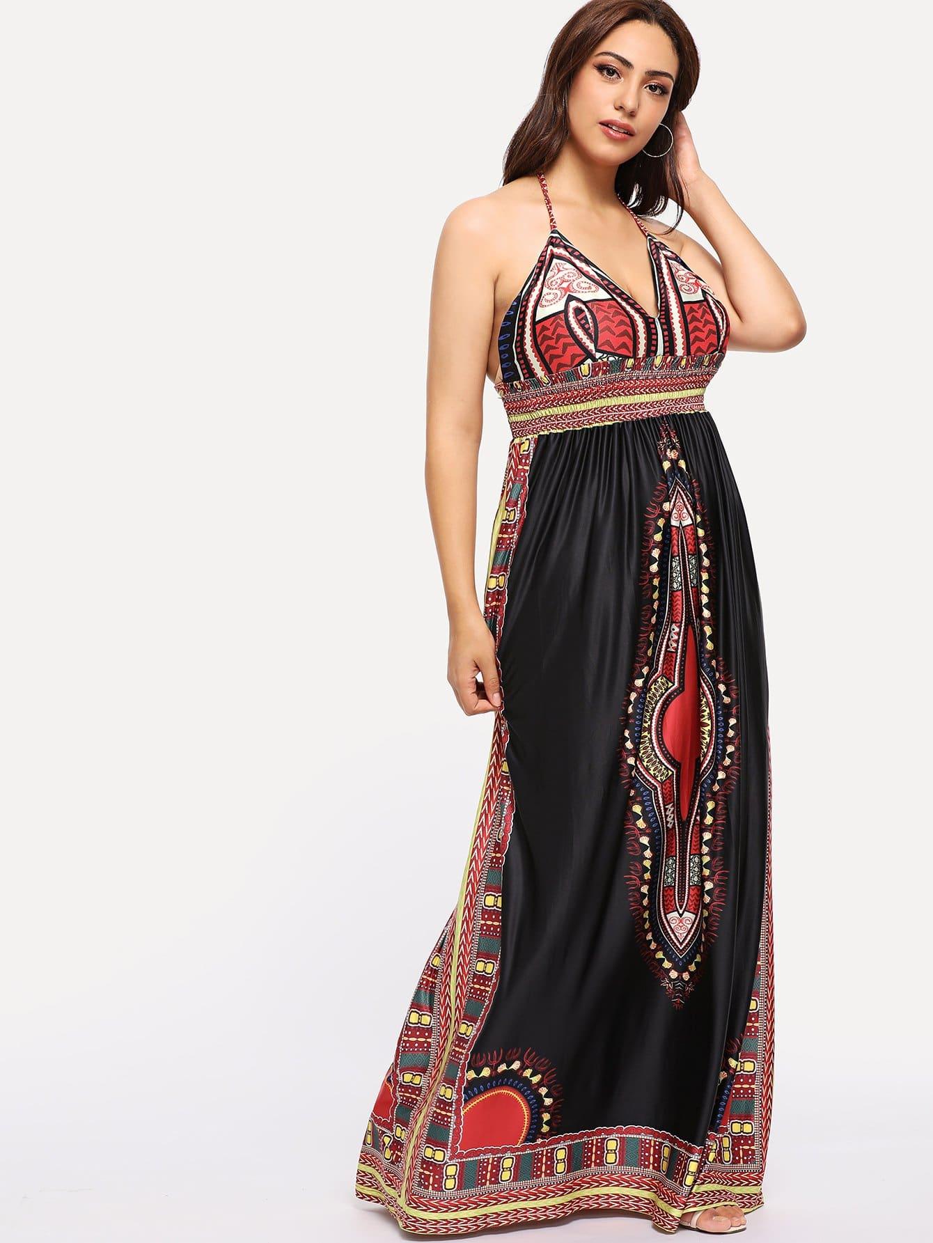 Купить Плюс размеры племенные печатные Холтер бинты платья, Esther, SheIn
