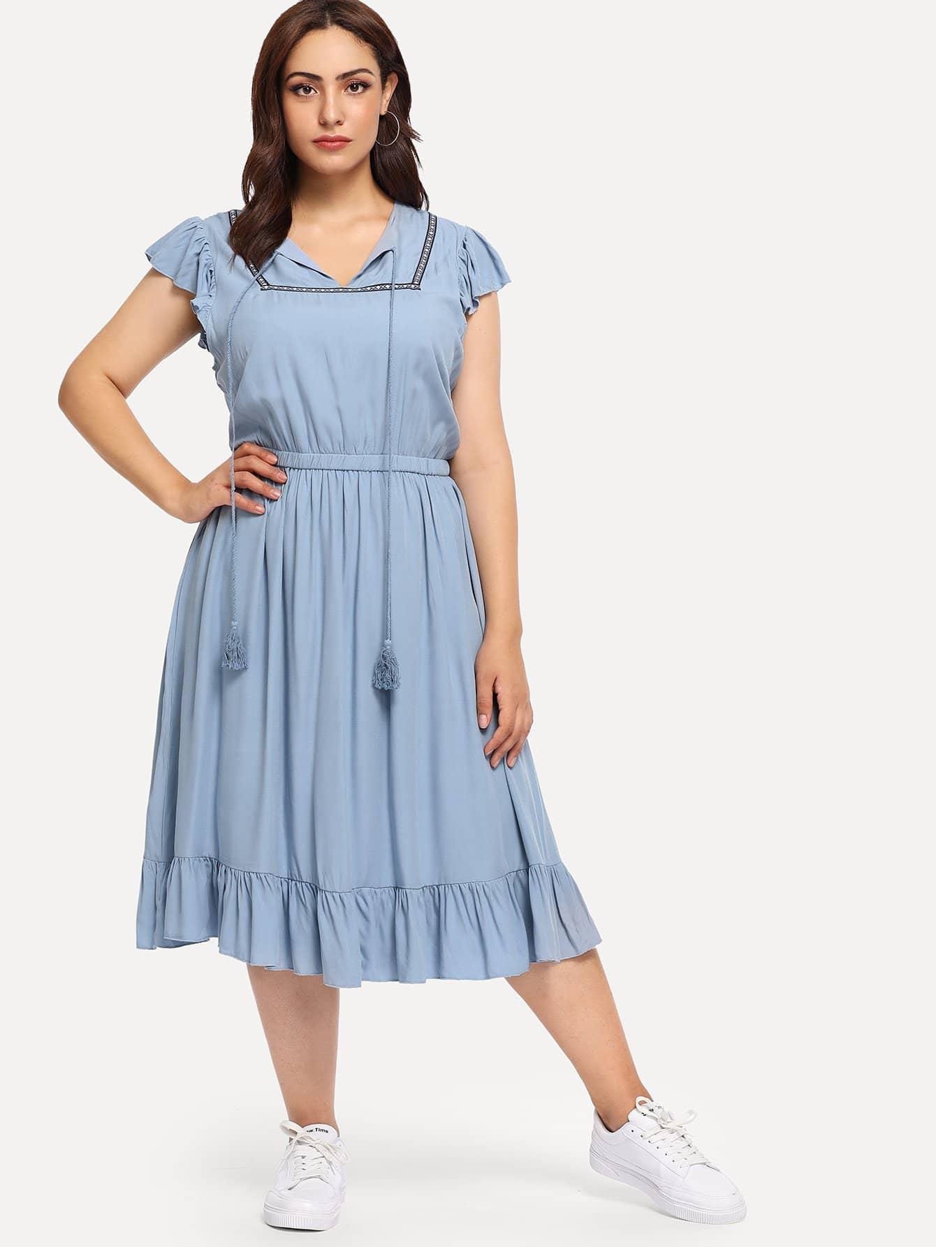 Купить Плюс размеры контрастное платье с воротник-бантом и бахромой, Esther, SheIn