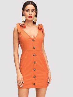 Tied Shoulder Button Through Dress
