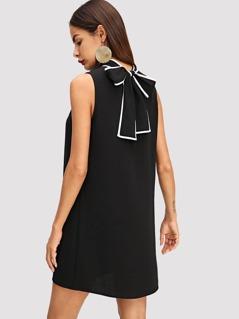 Mock Neck Contrast Binding Shell Dress