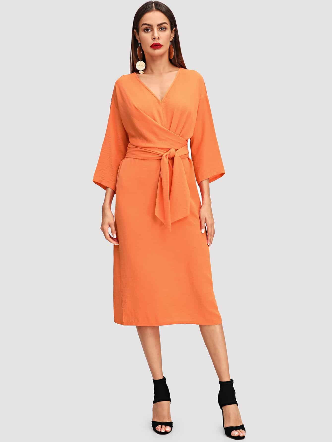 цена на V Neck Twist Front Dress