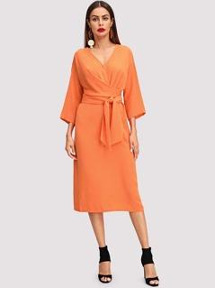 V Neck Twist Front Dress