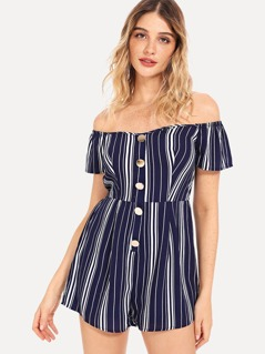 Vertical Striped Button Up Bardot Romper