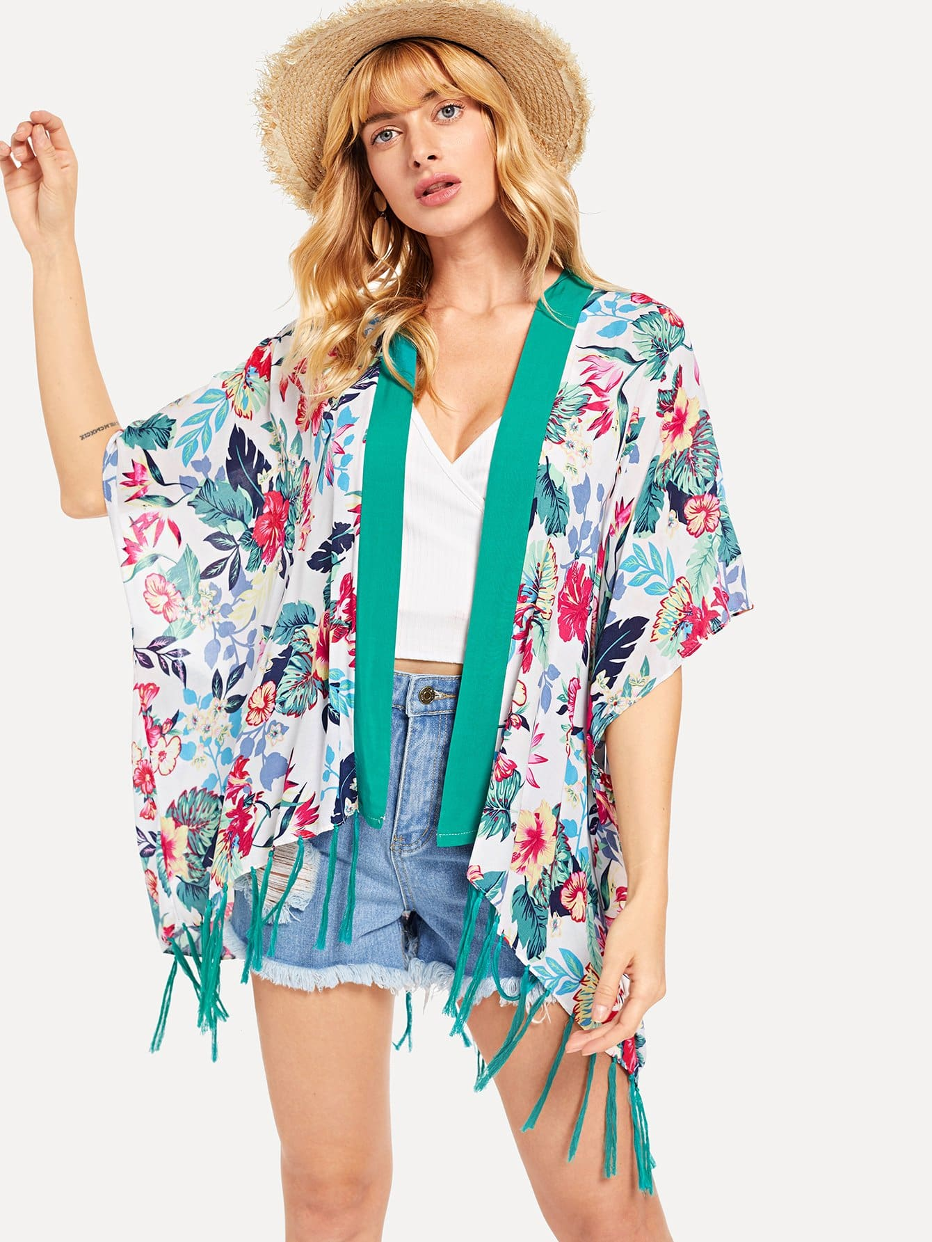 Contrast Trim Flower Print Tassel Kimono цена