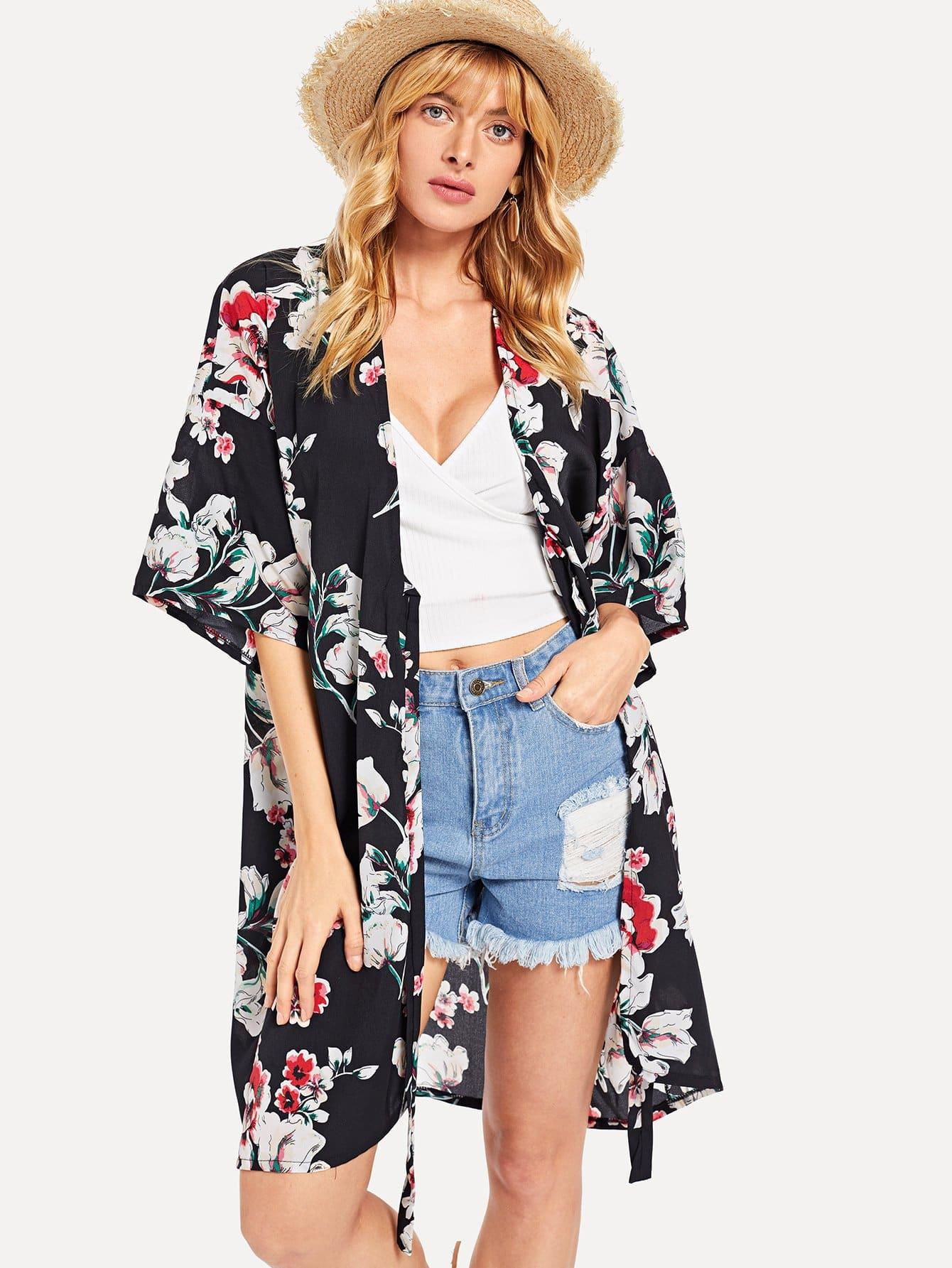 Купить Ботаническая печать Открытое фронтальное кимоно, Masha, SheIn