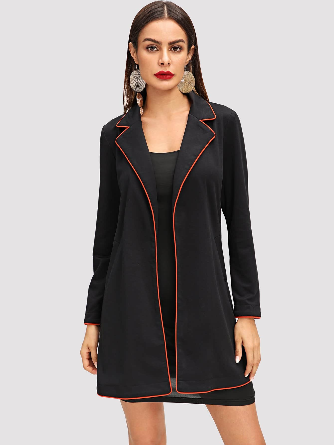 Contrast Tipping Notched Collar Coat mayer boch 143 092 дворники пластик 2шт 18