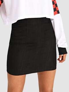 Zipper Up Solid Skirt