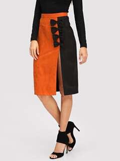 Bow Embellished Slit Hem Skirt