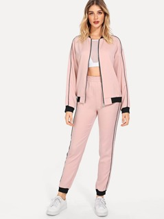 Zip Front Striped Coat & Pants Set