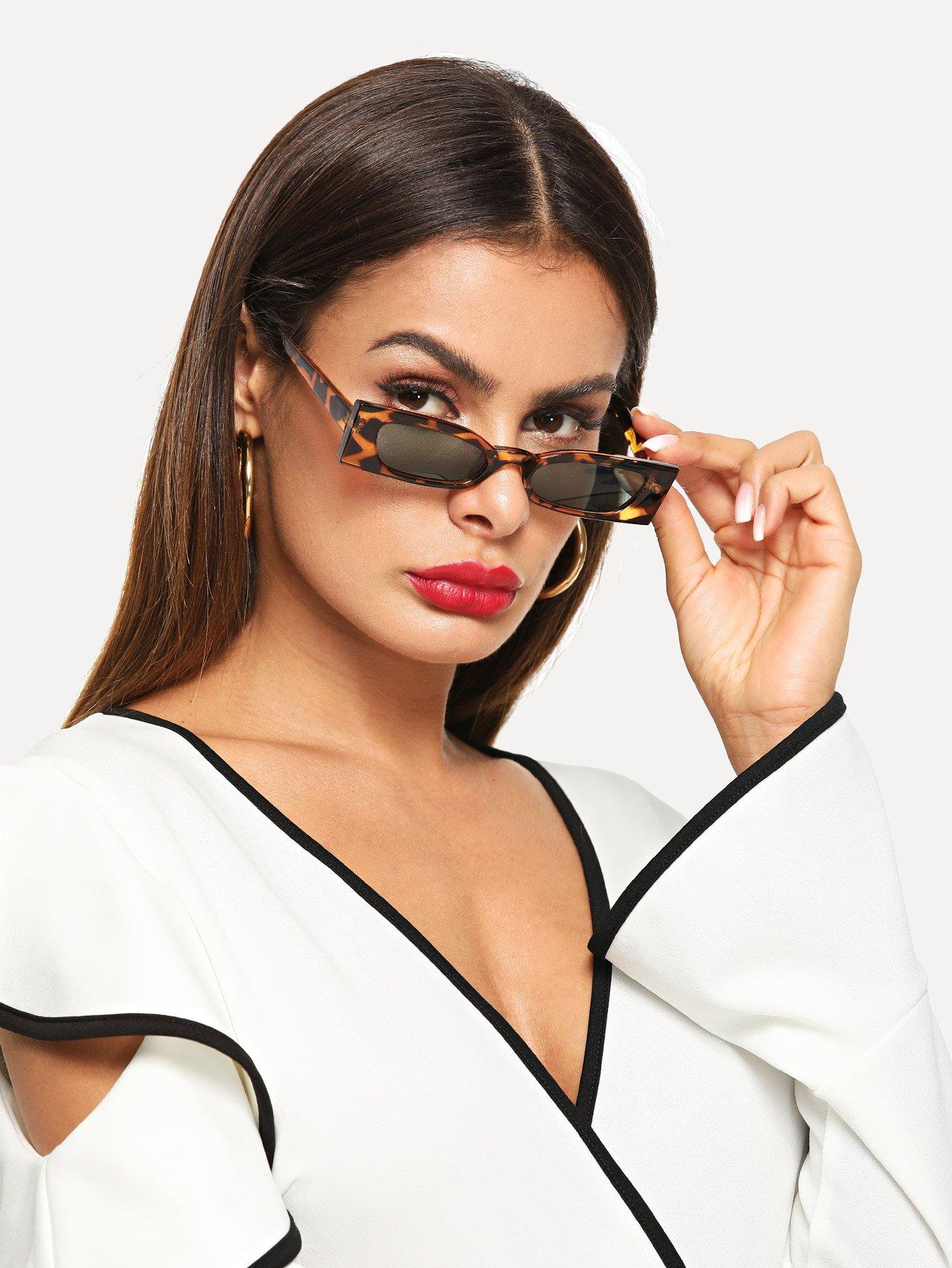 Купить Солнцезащитные очки с леопардовыми оправами, null, SheIn