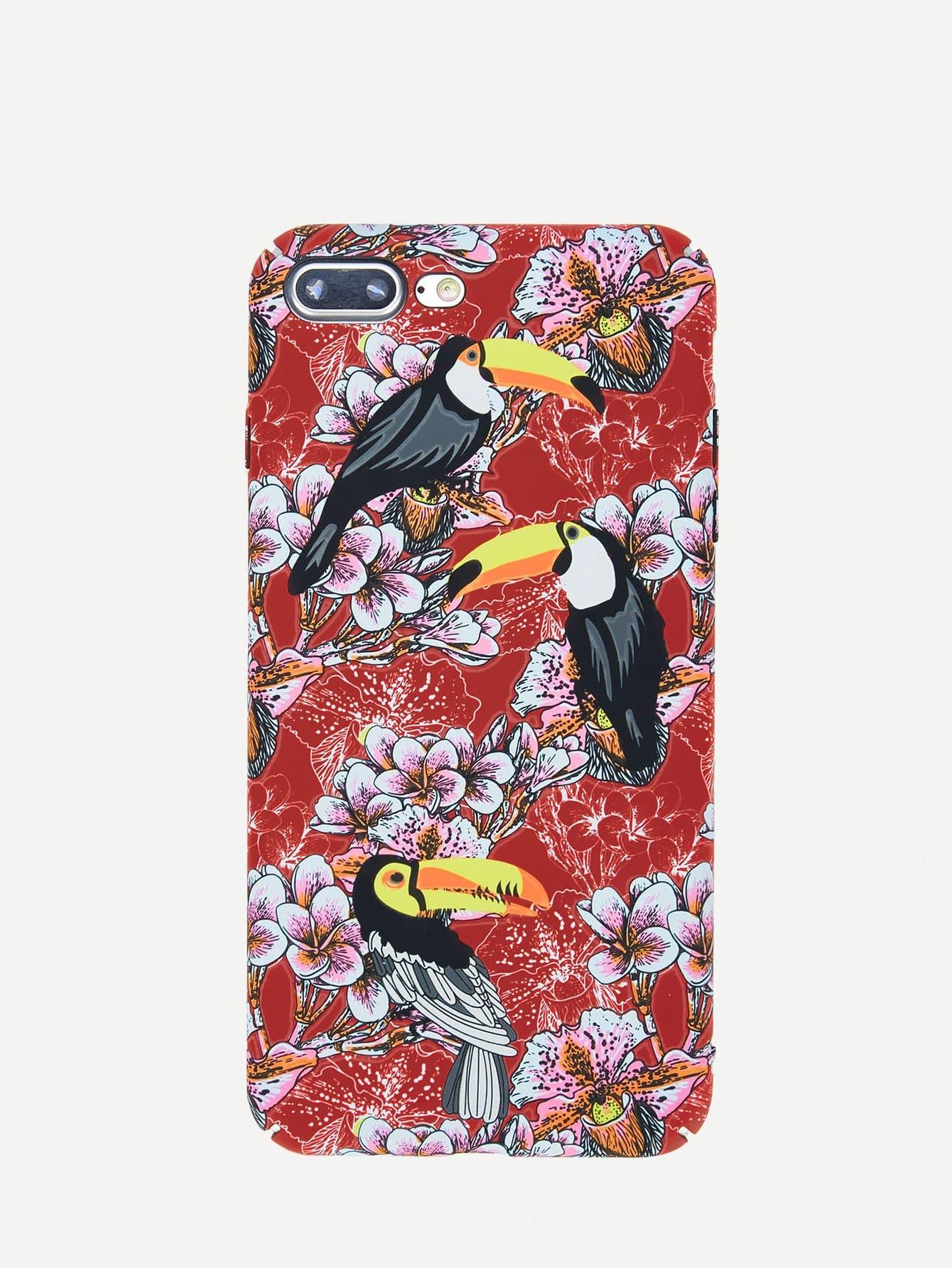 Купить Светящийся корпус сотового телефона для iPhone с рисунками цветов и птицы, null, SheIn