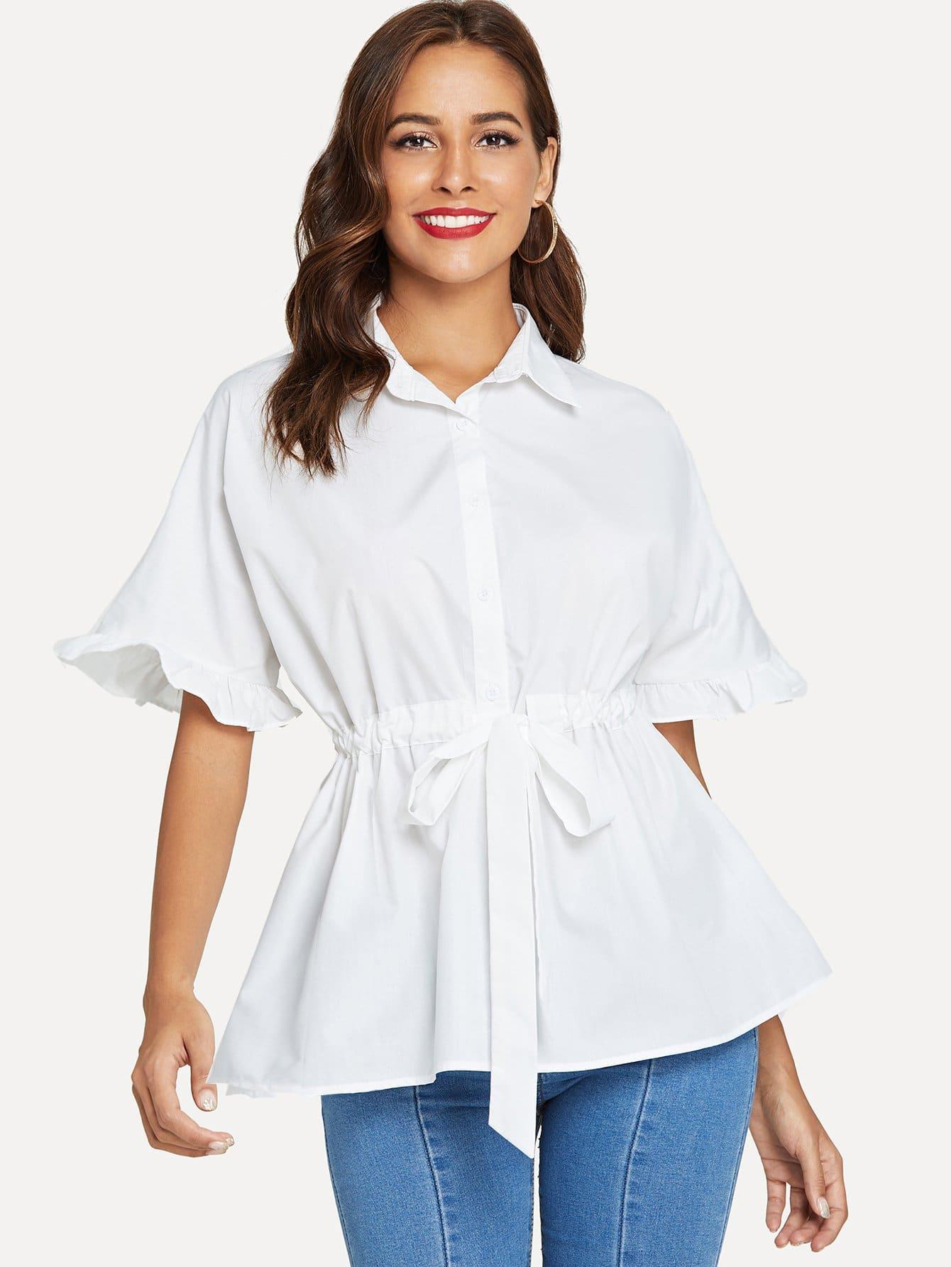 Купить Рубашка с коротким рукавом, Giulia, SheIn