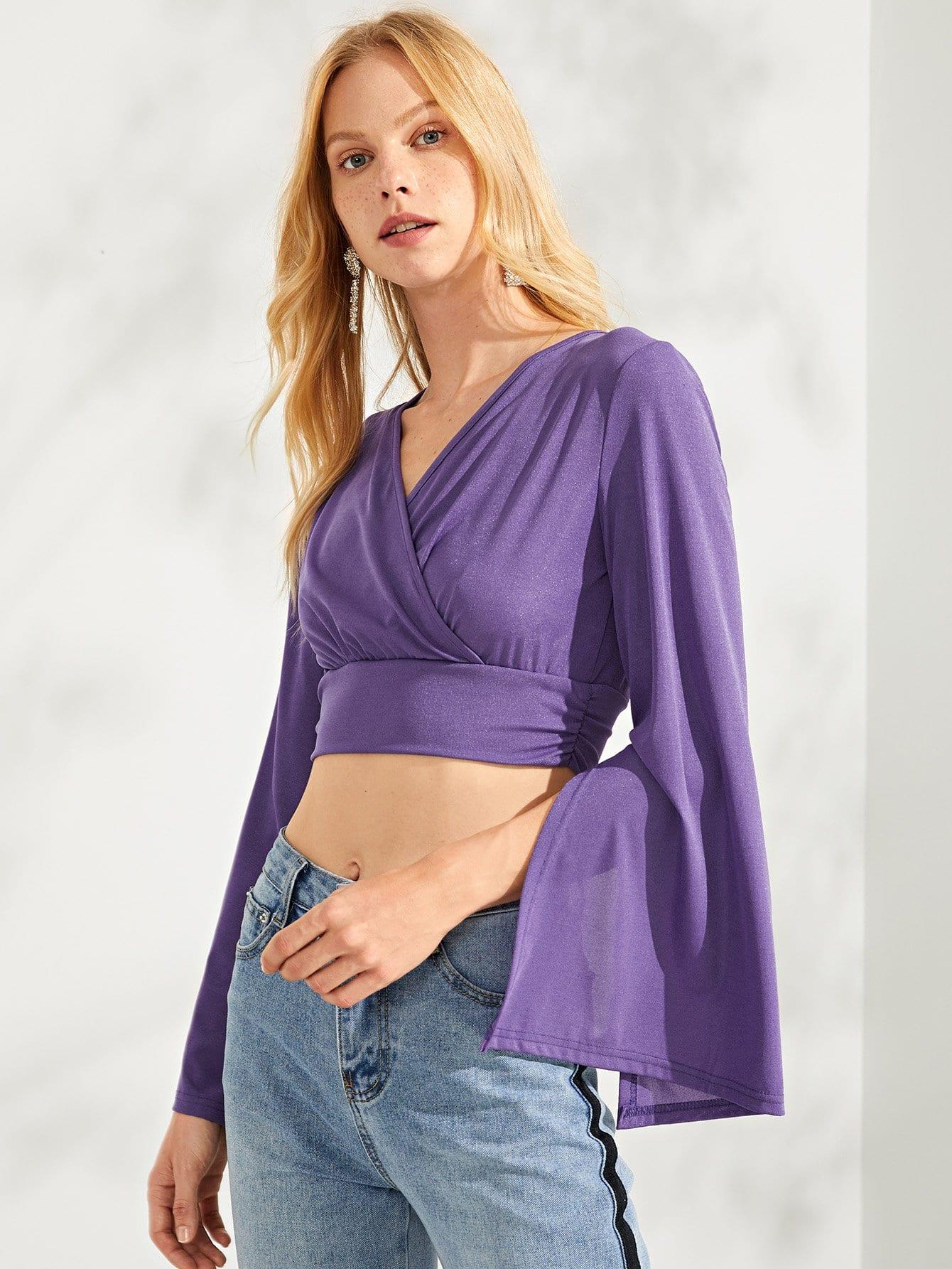 Купить Широкий подол блузка с длинным рукавом, Denisa, SheIn