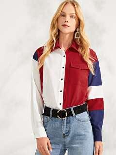 Button Up Color Block Pocket Front Top