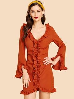 Ruffle Trim Tunic Dress