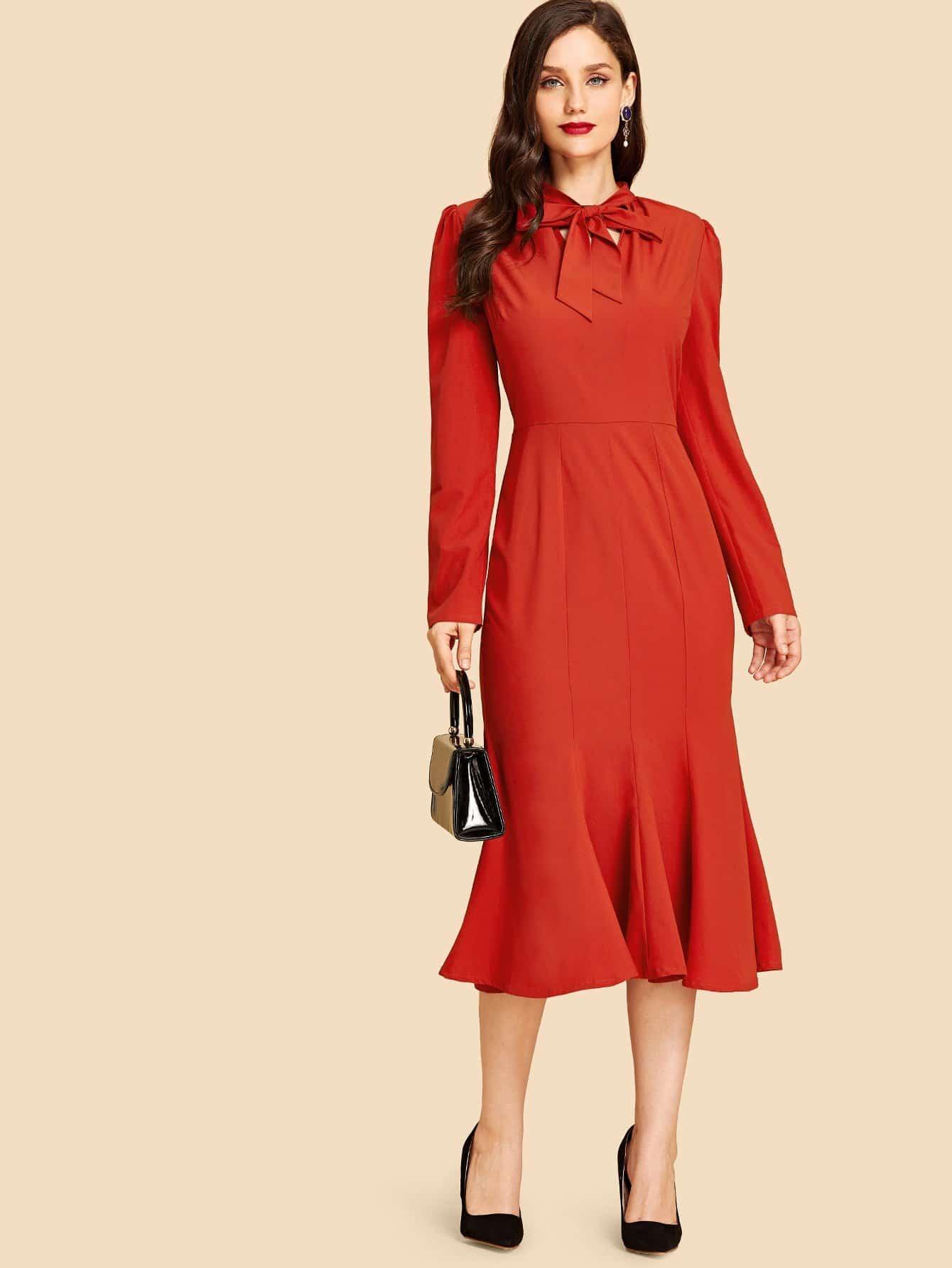 Купить Платье с застёжкой молния сзади одежды и воротник с галстуком и подол с розеткой, Julie H., SheIn