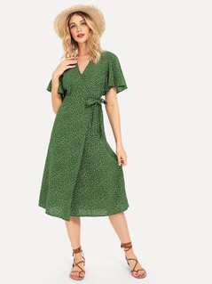 Ruffle Cuff Knot Side Surplice Wrap Dress