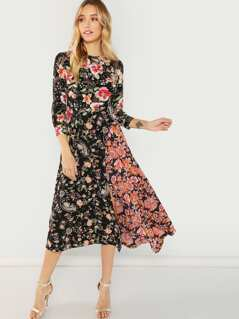 Flower Print Asymmetric Hem Dress