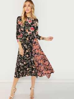Flower Print Asymmetric Hem Dress