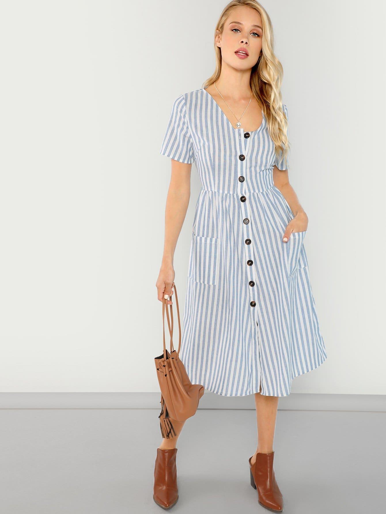 Купить Полосатое платье на пуговицах с карманами, Allie Leggett, SheIn