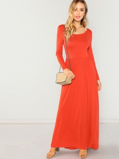 Neon Orange Pocket Front Fit and Flare Dress