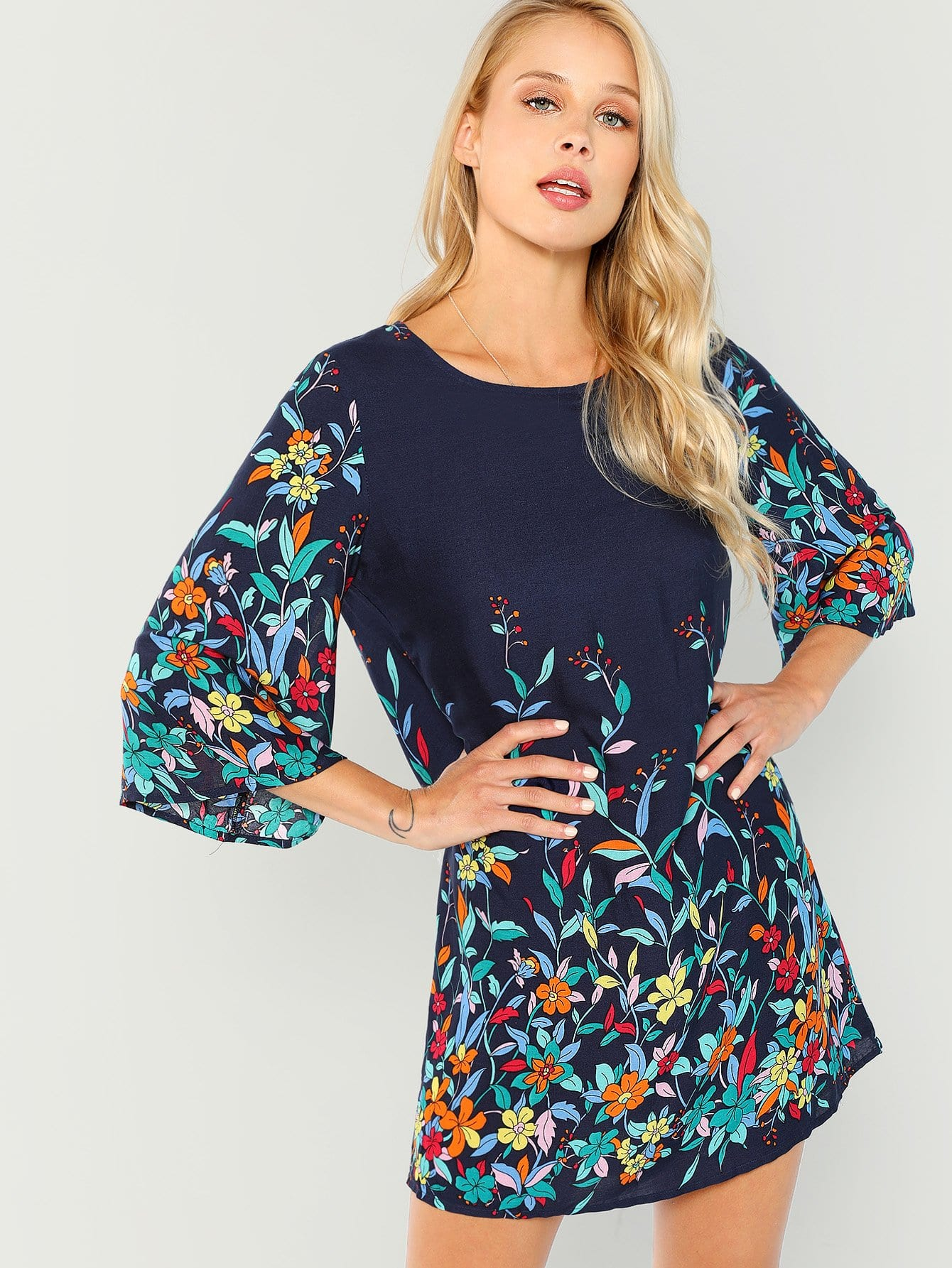 Купить Платье для печати цветов, Allie Leggett, SheIn