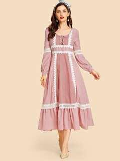 Guipure Lace Trim Lace-Up Striped Smock Dress