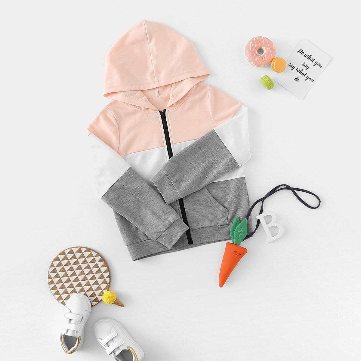 Девушки вырезают и вышивают Zip Up Hoodie Jacket от SHEIN
