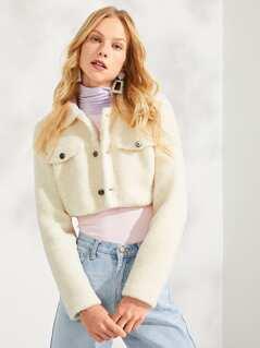 Button & Pocket Front Fleece Solid Teddy Jacket