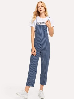 Knotted Strap Striped Jumpsuit