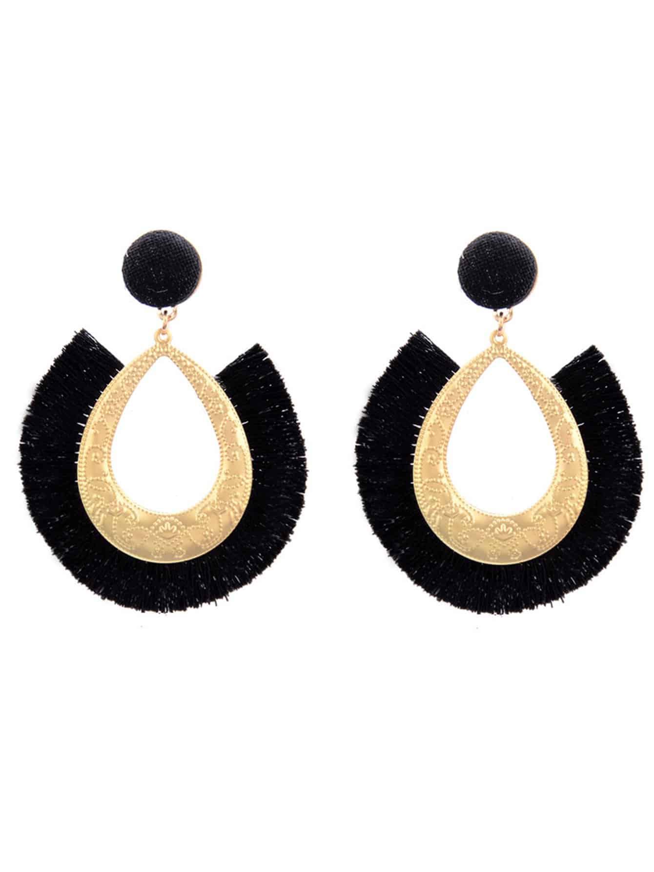 Fringe Open Hoop Earrings