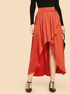 Asymmetrical Hem Flare Skirt