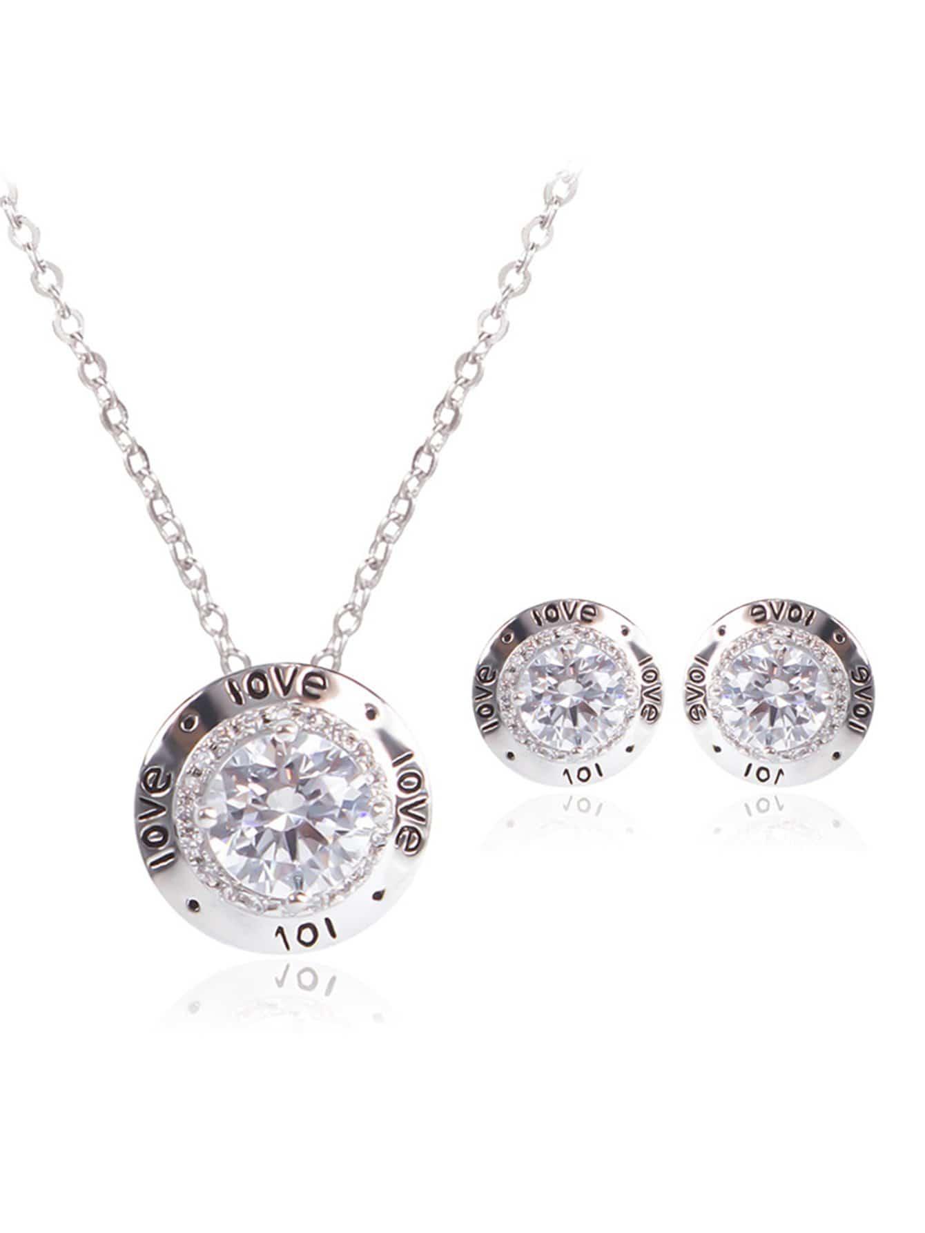 Rhinestone Necklace & 1pair Stud Earrings