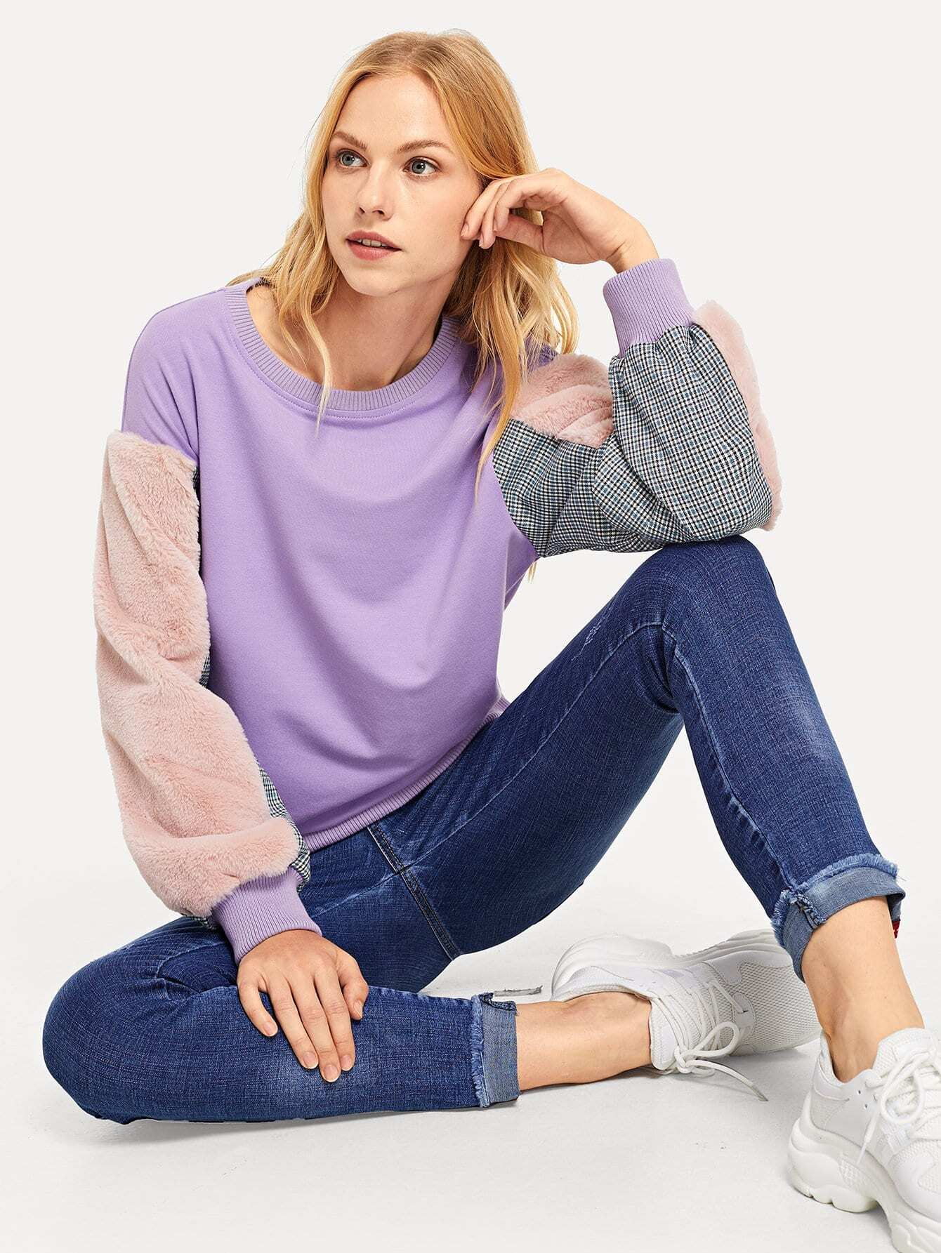 Купить Рубашка с длинным рукавом с длинным рукавом, Denisa, SheIn