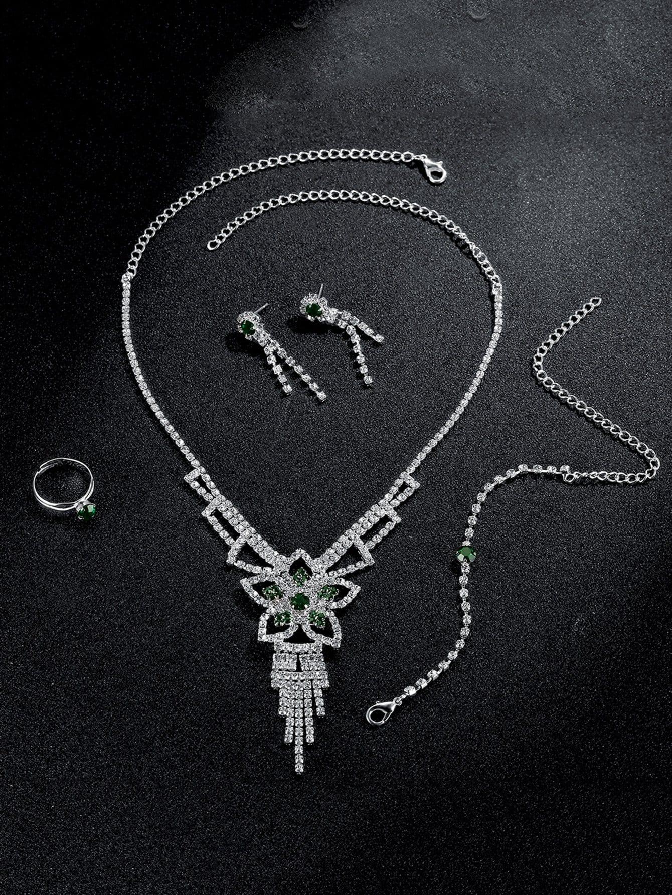 Blumen Anhänger Halskette & Ohrringe & Armband & Ring