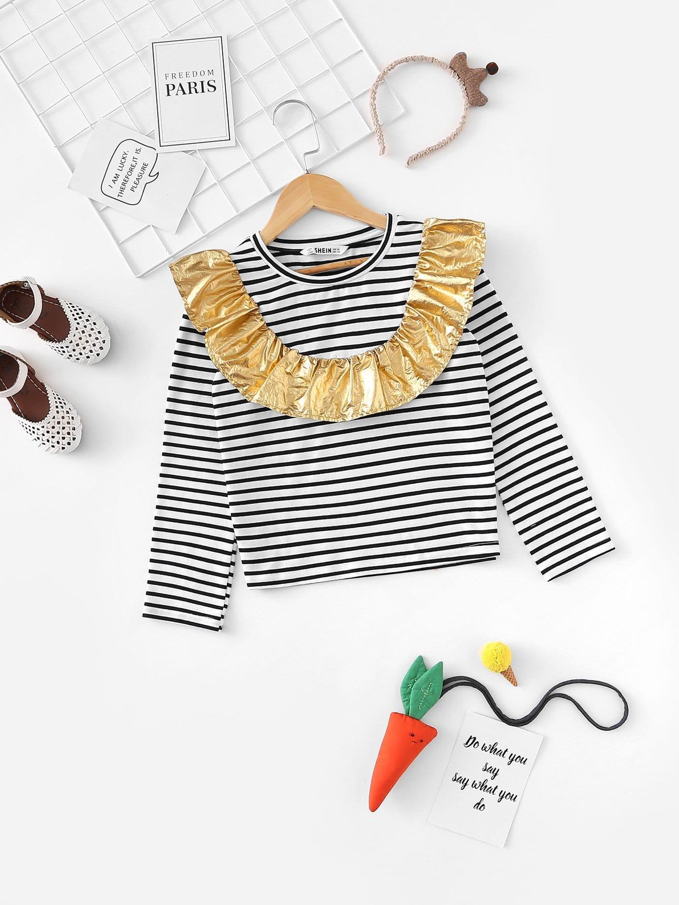 Купить Полосатая футболка с кружевными оборками для девочки, null, SheIn
