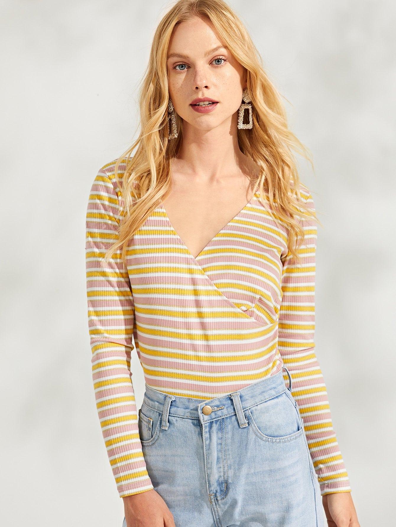 Полосатая футболка с запахом и с V-образным вырезом, Denisa, SheIn  - купить со скидкой