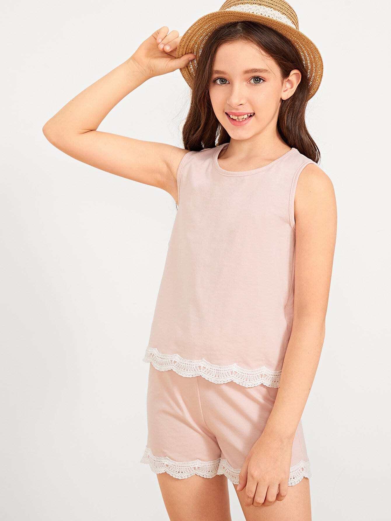 Купить Блузка и подол со симметрическими кружевами и шорты для девочки, Shelly, SheIn