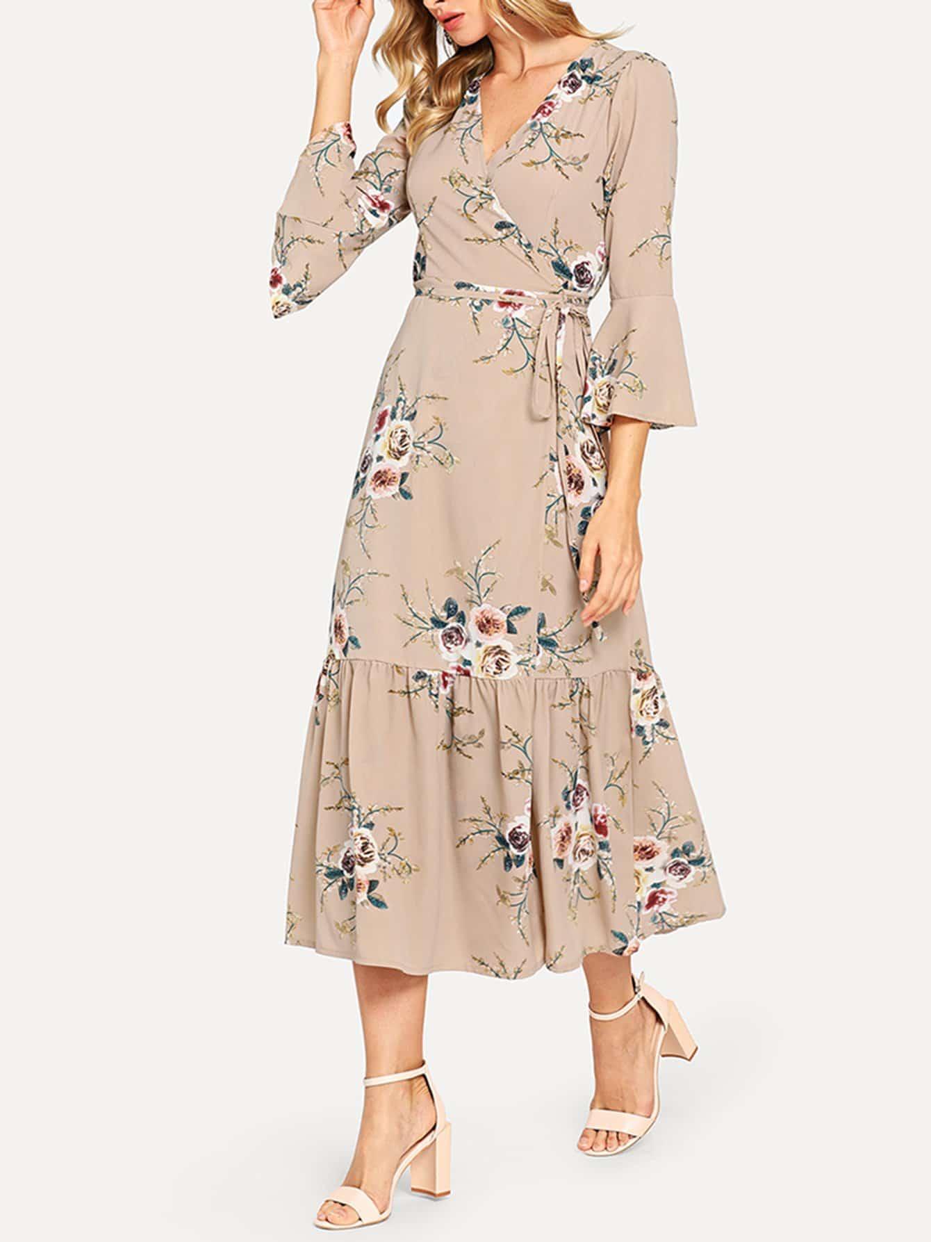 Купить Цветочное платье с оборками рукавами и с поясом, Masha, SheIn